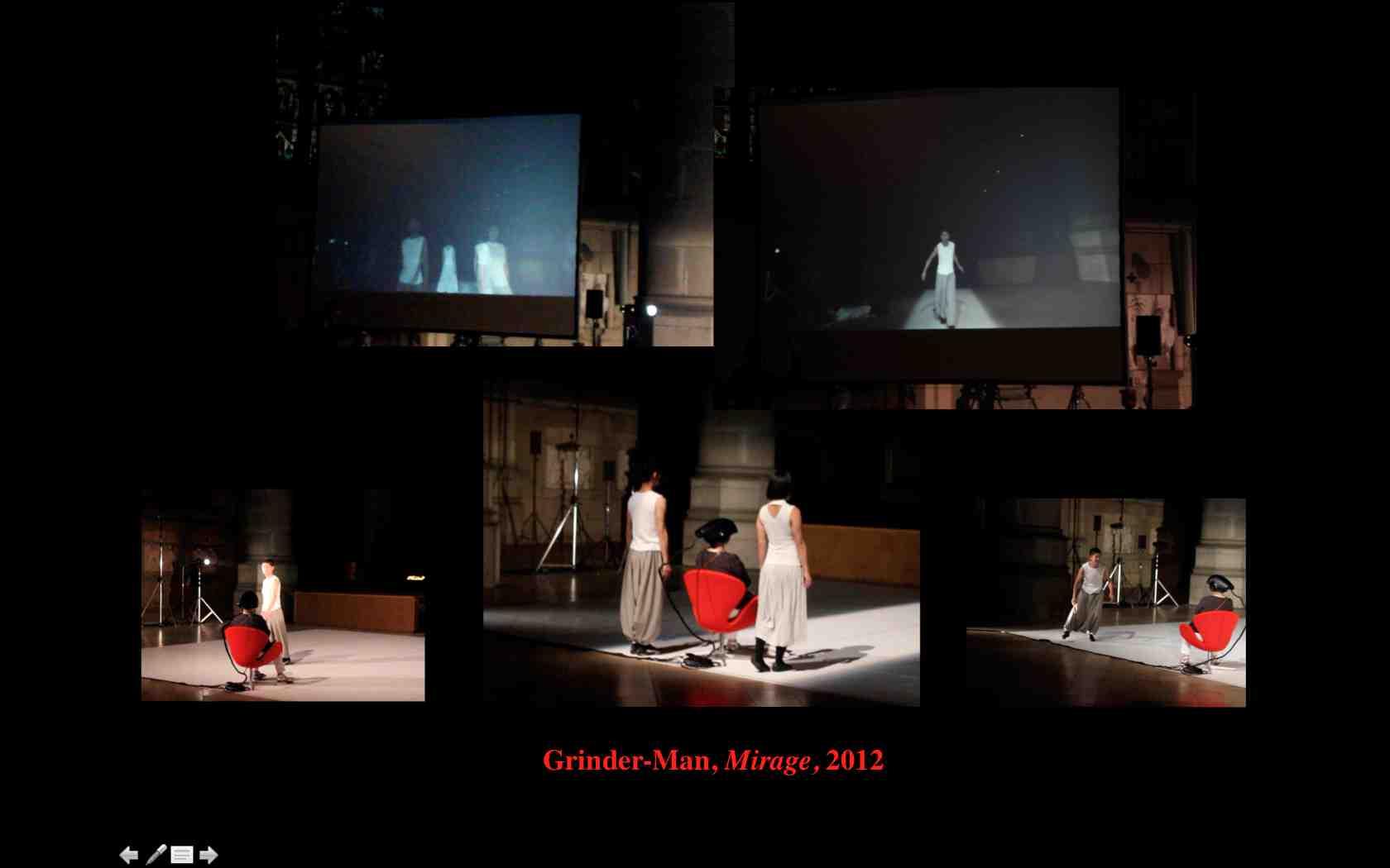 """Annick Bureaud dans """"Mirage"""" de Grinder-Man, à Ars Electronica, 2014"""