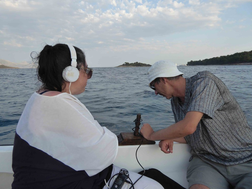 Robertina Sebjanič, Darko Fritz, underwater sound recording, Korčula, July 2017