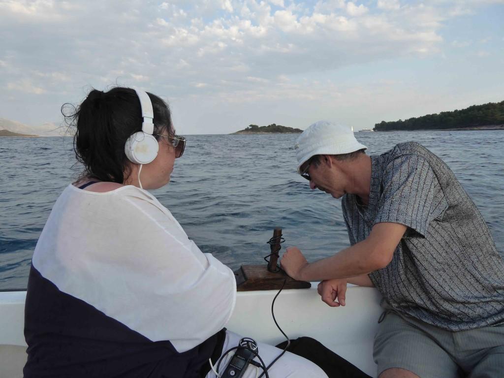 Robertina Sebjanič, Darko Fritz, underwater sound recording, Korčula, July 2017