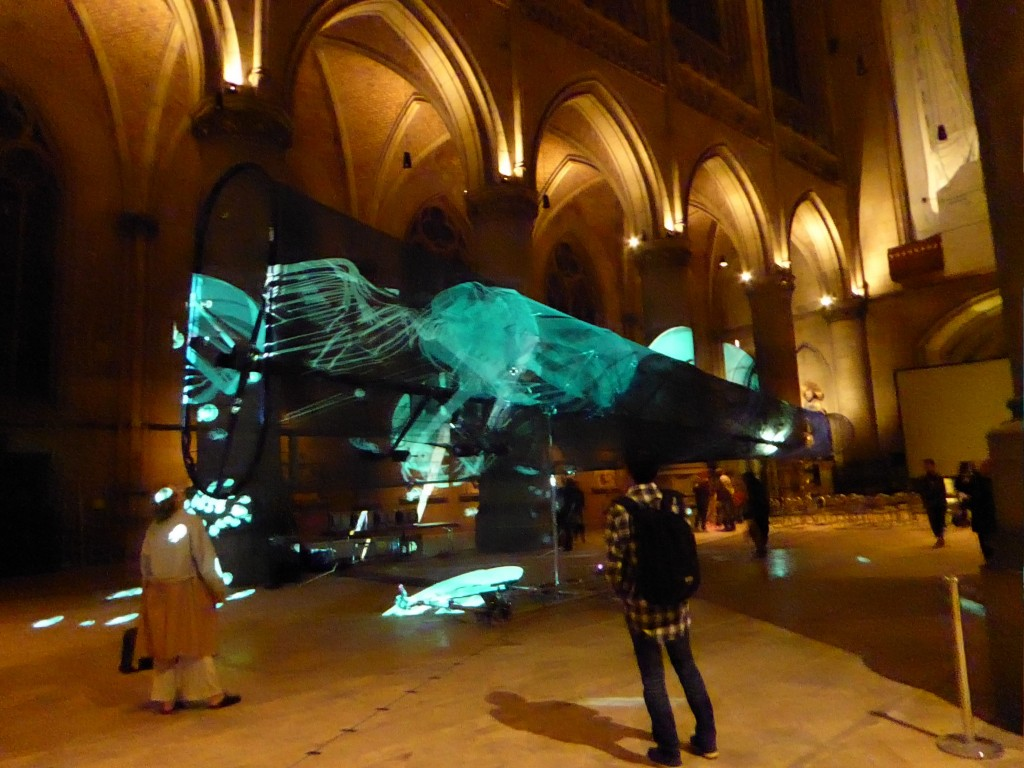 """""""LightScale II"""", Uwe Rieger, St. Mary Cathedral, Linz, Ars Electronica 2017, image Annick Bureaud"""
